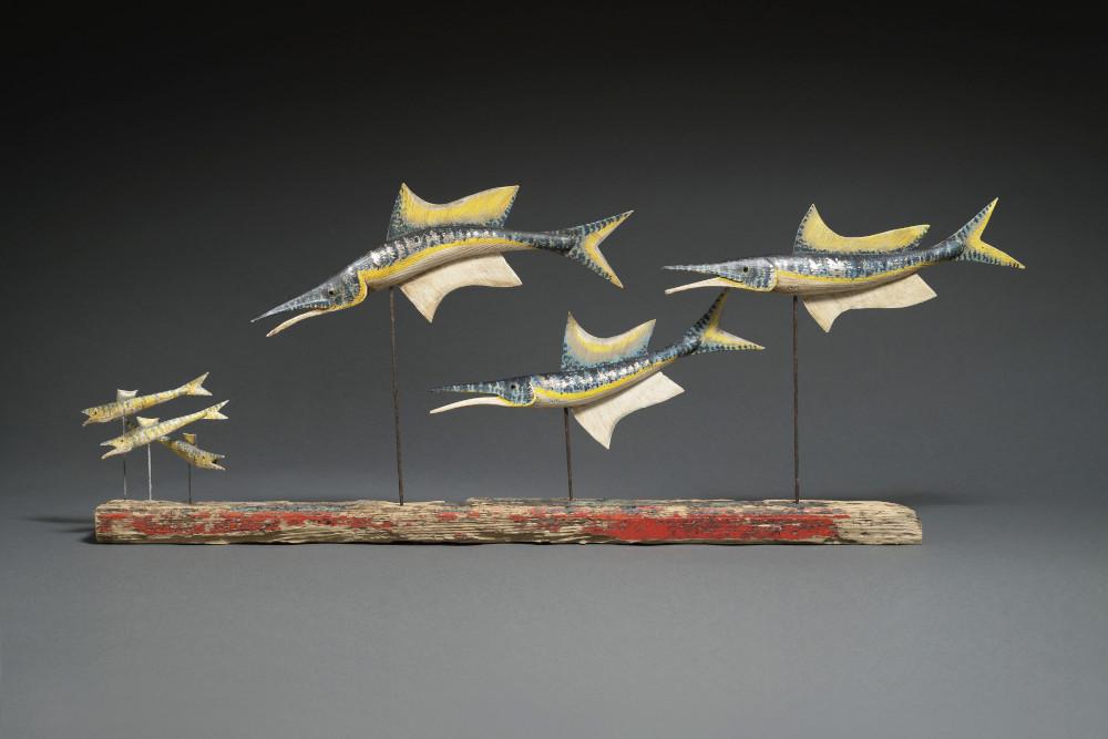 Stephen Henderson - Three Garfish with Fry 43x115x10cm